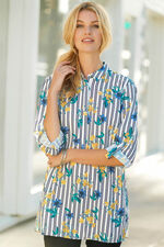 Floral And Stripe Long Sleeve Shirt