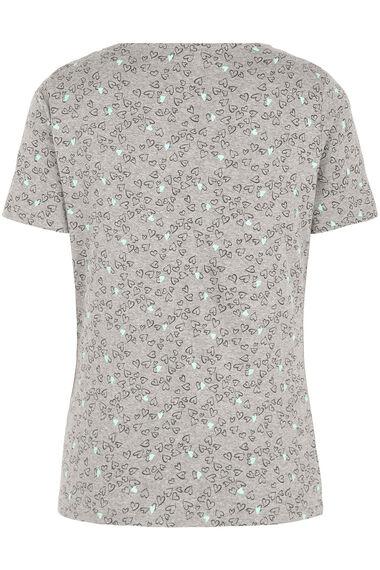 Notch Heart Print T-shirt