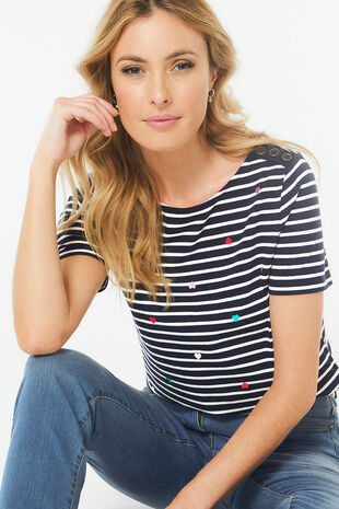 Embroidered Heart Stripe T-Shirt