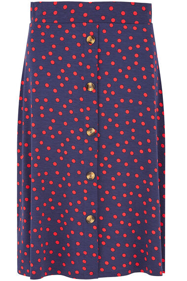 Spot Button Front Skirt