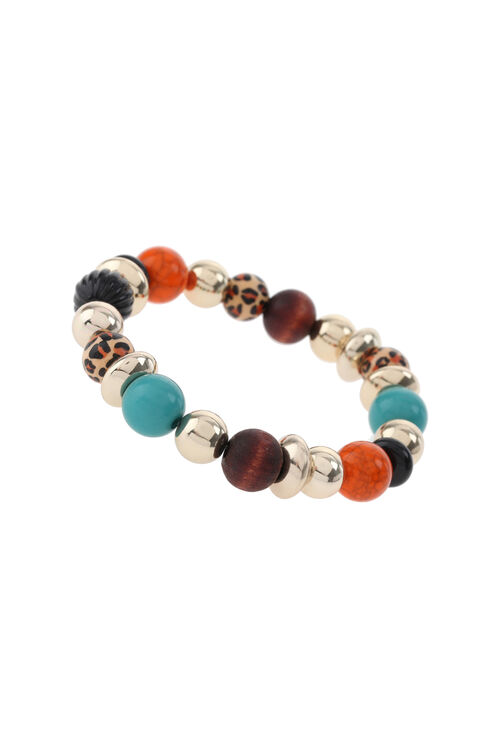 Muse Mixed Bead and Wood Stretch Bracelet