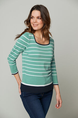 Square Neck Stripe Jumper