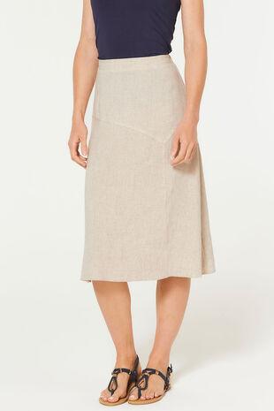 Plain Sand Linen Blend Flippy Skirt