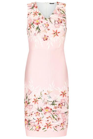 Floral Border Stretch Shift Dress