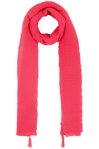 Texture Pleat Scarf With Tassel
