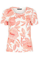 Scoop Neck Tropical Print T-Shirt