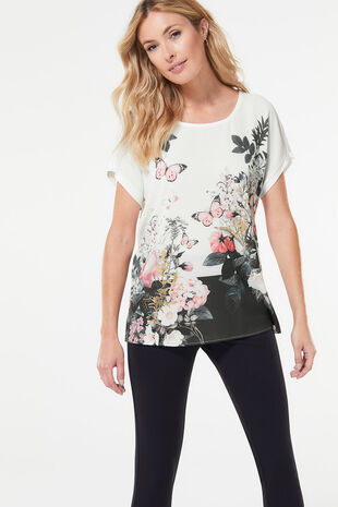Butterfly Woven Front Jersey Back Top