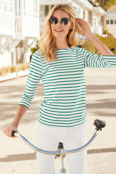Stripe Boat Neck T-Shirt