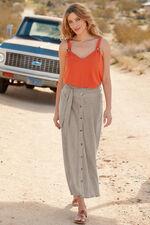 Button Front Linen Blend Skirt