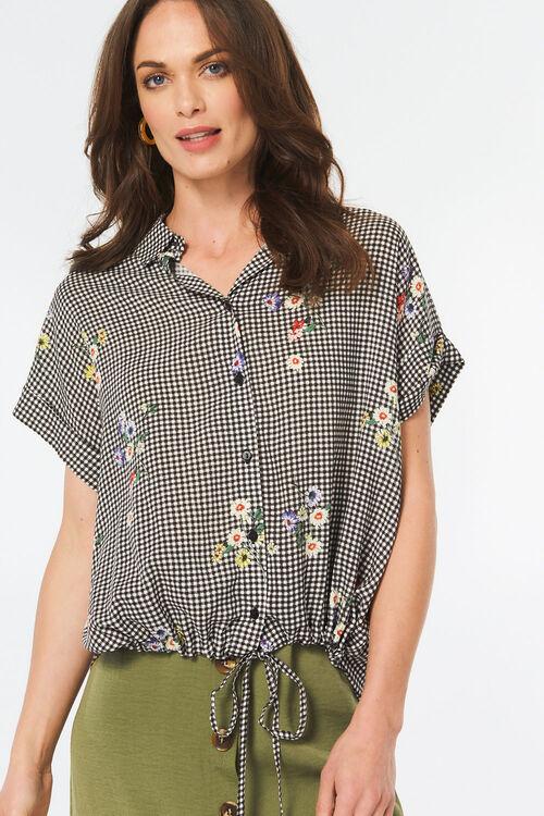 Gingham Shirt with Drawstring