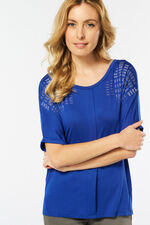 Pleat Front Top with Hot Fix Detail