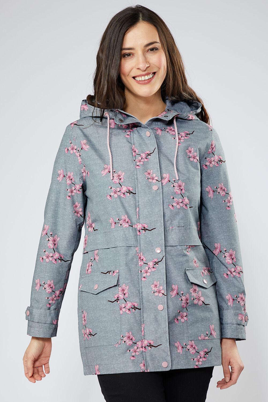 Women Ladies Floral Bomber Jacket Long Sleeves Rose Print Zip Crew Neck Coat Top