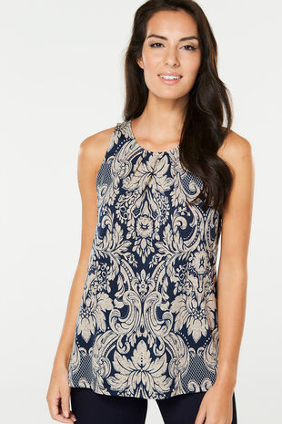 Izabel Sleeveless Paisley Print Top