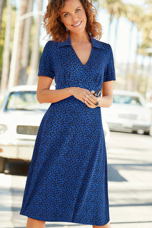 9c1b5b0de96 Printed Collared Midi Dress