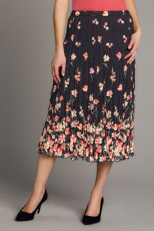 Floral Chiffon Crinkle Skirt