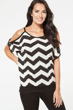 Izabel Zig Zag Printed Cold Shoulder Top