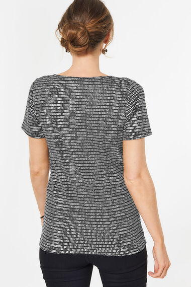 Square Neck Dash Print T-Shirt