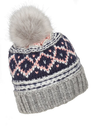 Fairisle Beanie with Pom Pom
