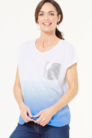 Ombre Sequin Pocket T-Shirt
