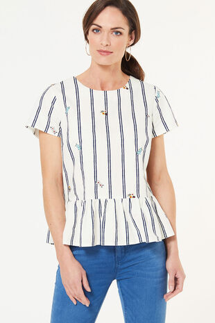 Stripe Embroidered Peplum Blouse