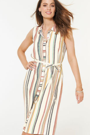 Sleeveless Stripe Linen Blend Shirt Dress