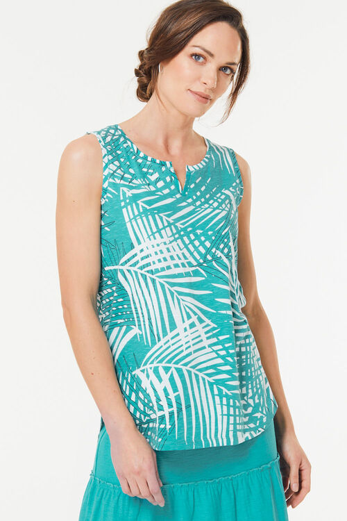 Leaf Print Notch Neck Vest