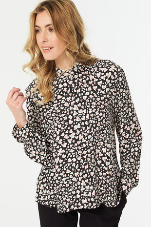 High Neck Animal Blouse