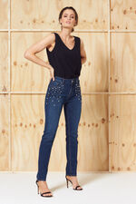Nine To Six Straight Leg Pearl Detail Jeans