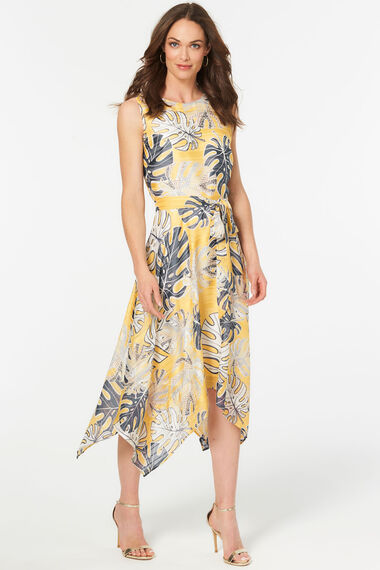 Leaf Print Hanky Hem Dress
