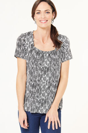 Square Neck Stripe Top