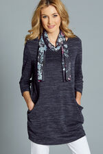 Plain Slouch Tunic With Scarf