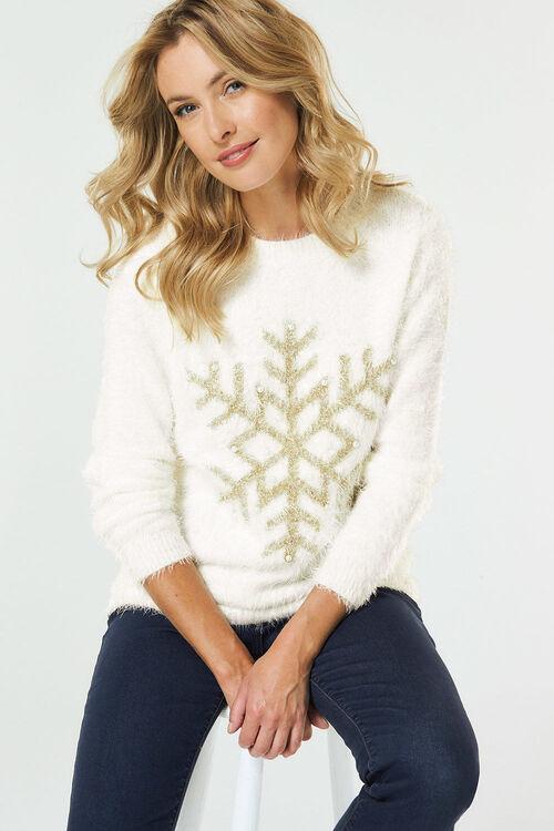 Eyelash Snowflake Christmas Jumper