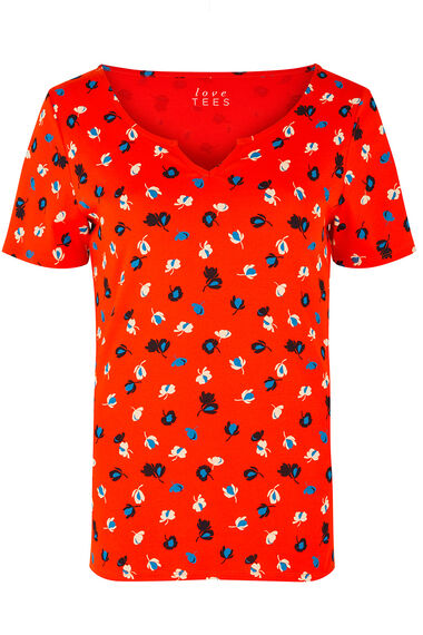 Notch Neck Graphic Floral T-Shirt