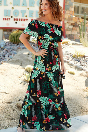 Isla & Rose Tropical Print Maxi Dress