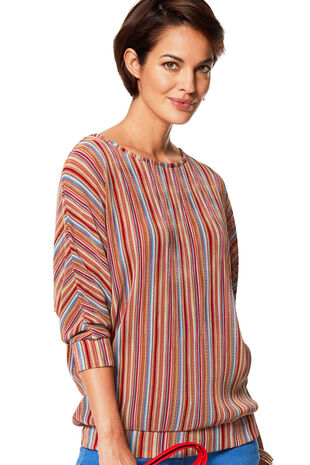Metallic Stripe Print Top