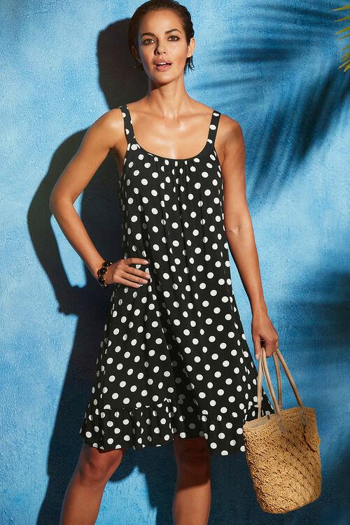 Spot Print Beach Dress with Frill Hem