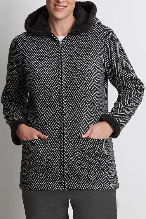 Printed Fleece Hood Jacket