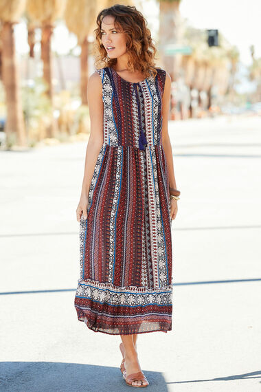Striped Printed Dress With Tassel