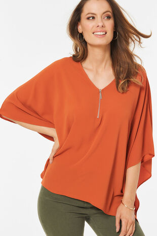 Zip Front Oversized Top