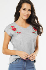 Rose Embroidery T-Shirt
