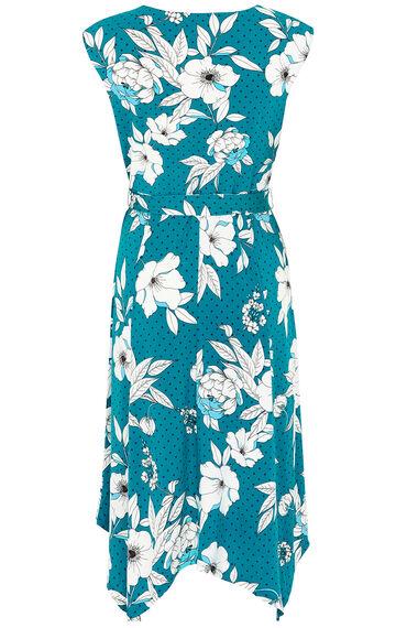 Graphic Floral Hanky Hem Dress