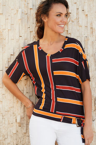 Short Sleeve Stripe Top With Buckle
