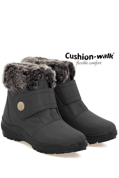 Cushion Walk Ankle Boot with Faux Fur Trim