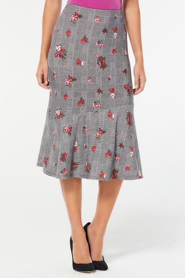 Soft Touch Floral Check Flounce Skirt