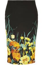 Floral Border Scuba Pencil Skirt