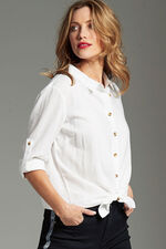 Long Sleeve Plain Linen Blend Shirt