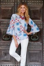 Floral Print 3/4 Length Frill Sleeve Top