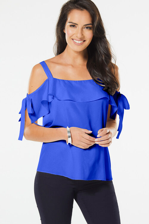 Bardot Top With Tie Detailing
