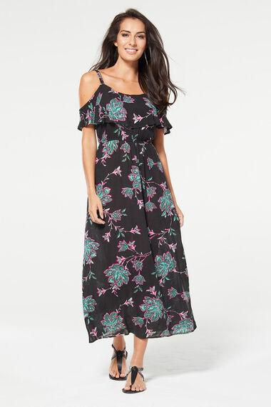 Leaf Print Cold Shoulder Maxi Beach Dress