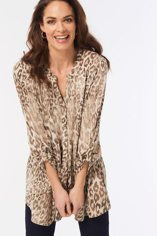 Animal Print Peplum Tunic